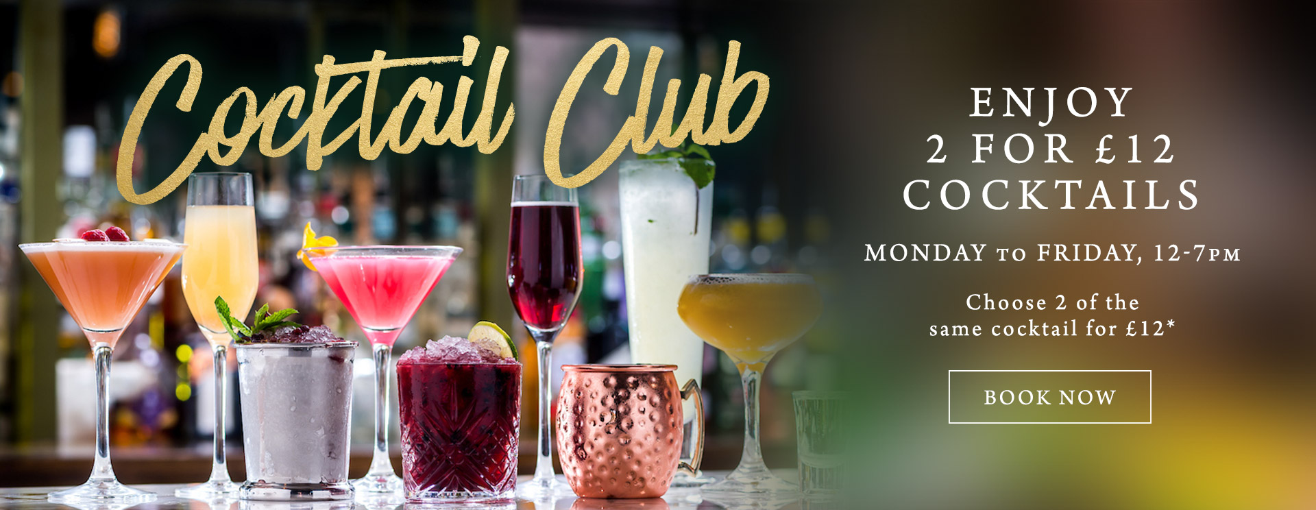 2 for £12 cocktails at The Rose & Crown